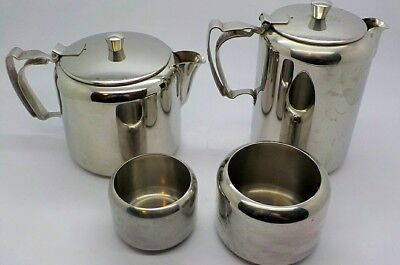 Old Hall England Stainless Steel 4pc 2 1½pt Teapots & 2 Sugar Bowls