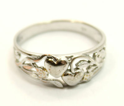 """Romantic Antique Estate """"Double Heart"""" Shaped Ring Size 7 1/2  in Sterling Silve"""