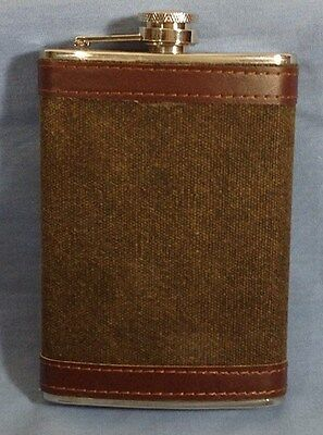Flask Metal & Burlap Cover,8 Oz Capacity, Screw Top. For All Your Beverage Needs