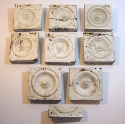 Lot Of 8 Antique Bullseye Trim Molding Corner Pieces Architectural Salvage 1880s