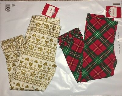 NWT Girls toddler Holiday Leggings cream gold snowflakes red green plaid argyle