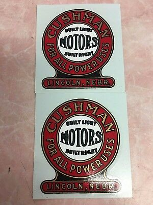 "Two Matching Cushman Motors Decals-3 1/8"" x 3"""