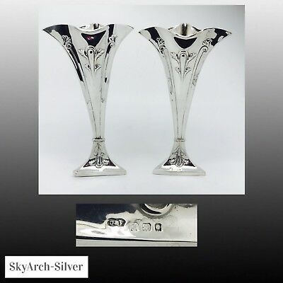 SOLID SILVER Vase PAIR Hallmarked London 1899 DEAKIN & FRANCIS 336g Gross