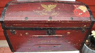 """Antique Wooden Painted Dome Top Trunk 28"""""""