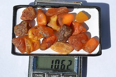 Raw Baltic sea Amber 22-16 small beads not drilled Butterscotch   genuine