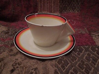 Clarice Cliff Bizarre Banded Conical Cup And Saucer Duo - (Damaged)