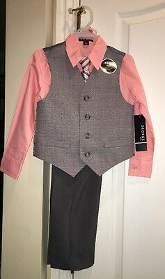 BOYS CLOTHES GEORGE PLAID 4pc VEST SUIT~WEDDING~SPECIAL OCCASION~HOLIDAY SIZE 12