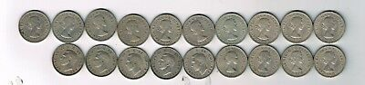 All 19 different CuNi Scottish one shilling coins issued 1947 - 1966