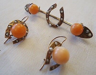 Victorian Gilded Metal Earrings And Broosche W/ Pearl & Angel Skin Coral 1870