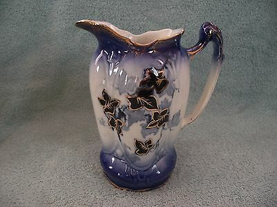 Flow Blue Pitcher/Jug - Leaf Pattern with Gilt Finish and Highlights