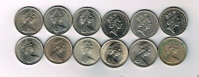 12 different 5p five pence coins 1968 - 1971, 1975, 1977 - 1980, 1987, 1988 1989