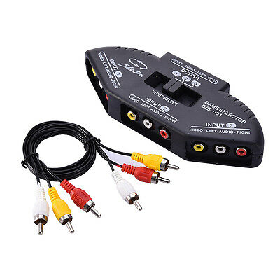 3-Way Audio Video AV RCA Black Switch Selector Splitter with/3 RCA Cable Box