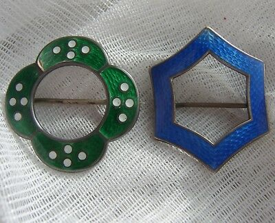 2 Early 20th Century Sterling Silver AJS Guilloche Enamel Brooch Pins circa 1919