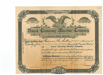 Barrel Cleansing Machine Company 1894 Stock Certificate!  #38