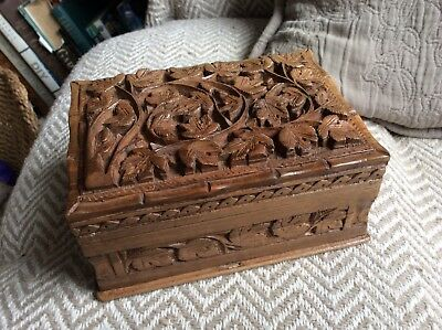 Indian Carved Wood  Lidded Storage Jewellery Trinket Box Hidden Lock
