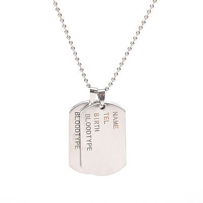 Stainless Steel Mens Nameplate Military Army Style Dog Tags Chain Mens PendantsT