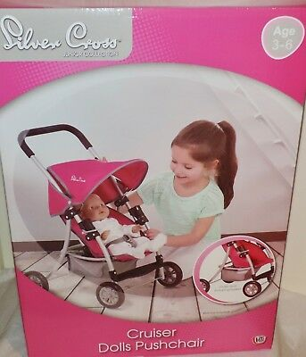 NEW Silver Cross CRUISER DOLLS PUSHCHAIR - BRIGHT PINK - For dolls up to 50 cm