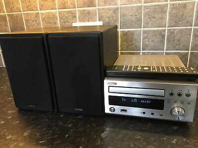 Dennon RCD-M37 DAB stereo (silver) with remote, cables and speakers