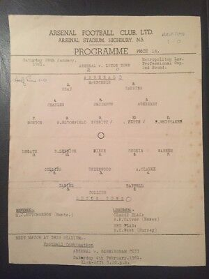 Arsenal V. Luton Town Met League Cup 28/01/1961