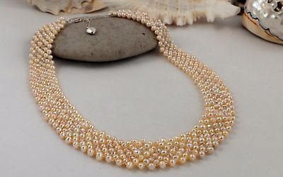Tiny Pink Freshwater Pearl & Crystal Collar Necklace Wedding Gift For Her