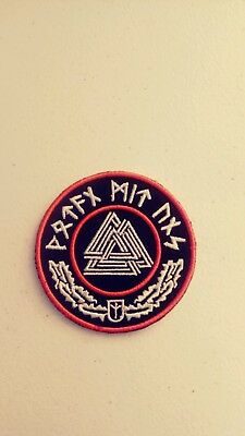 Valknut Circle Patch with Runes. Red Harley, Viking, Wotan Mit Uns