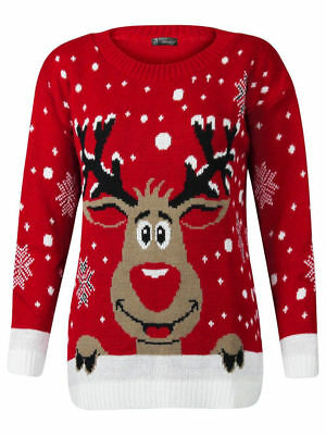 Women's Ladies Knitted Novelty Vintage Retro Christmas Xmas Sweater Jumper Top