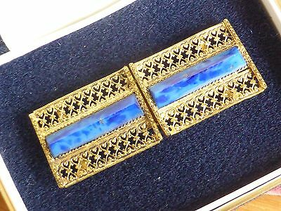 Vintage goldtone filigree and blue buckle