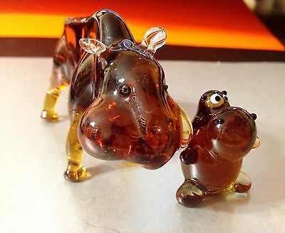 Hippo figurines Blown glass handmade Souvenirs from Russia