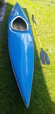 Vintage TYNE blue and white canoe  whitewater white water fibre glass