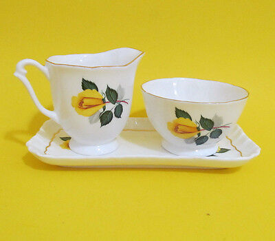 Vintage Royal Adderley Sugar and Cream Set with a Tray Yellow Rose England