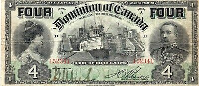 Dominion of Canada $4 Note, 1902 Issue, Pick# 26A, VF