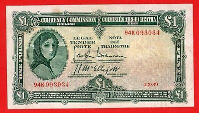 Ireland  £1  Currency  Commission   4/2/1939  Lady  Lavery    Banknote