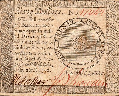 $60 Continental Currency, Sept. 26, 1778, Scarce Denomination!