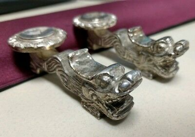 Set of 2 Vintage Chinese Silver Plated Dragon Chopstick Holder w/ Tea Bowl Rest