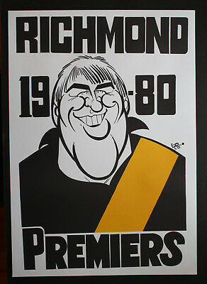 1980 Richmond Premiers Weg poster Mark Lee caricature Tigers Premiership
