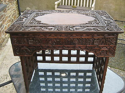 Folding 1860-80 Wonderful High Relief Chinese Scribes Travelling/campaign Desk.