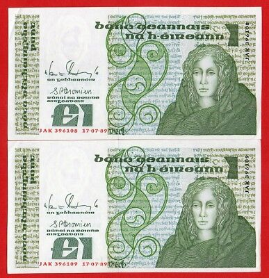 IRELAND £1 Pound  UNC QUEEN  MEDB  PAIR IN SEQUENCE  17-7-89  Series B  Banknote