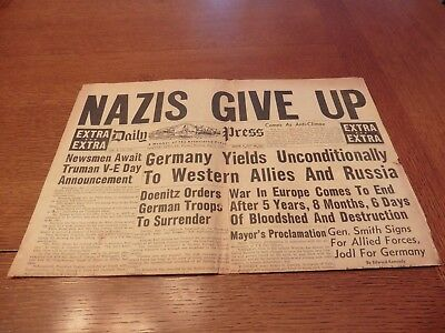 Old May 7, 1945 Wwii Newport News Virginia Nazi's Surrender Newspaper Nazis Ww2