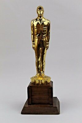 Amoco Man Trophy Award for Dealer Unique Rare Vintage 1960s Metal with Wood Base