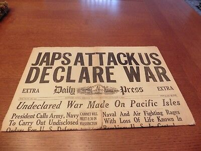 Vintage December 7, 1941 Wwii Newport News Virginia Pearl Harbor Newspaper Ww2