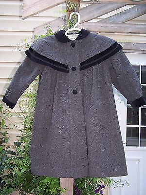 Girls Winter Coat ROTHSCHILD Sz 6X Charcoal Black Victorian Style Long Dress