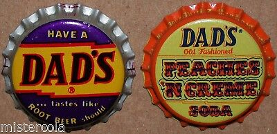 Vintage soda pop bottle caps DADS ROOT BEER Collection of 2 different unused