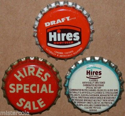 Vintage soda pop bottle caps HIRES ROOT BEER Collection of 3 different unused