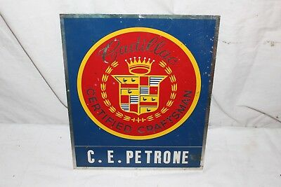 "Vintage 1950 Cadillac Car Dealership Employee Mechanic Gas Oil 12"" Metal Sign"