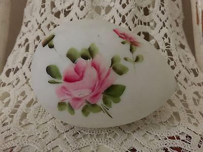 Antique 1800s Victorian Hand Blown Satin Glass Easter Egg Large Hand Painted 6""
