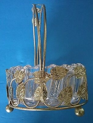 Vintage Jelly Dish w/ Brass Metal Ornate Leaf Patterned Handle Holder
