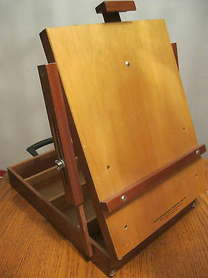 Vintage Artist Quality Table Top Easel Box Mahogany Wood