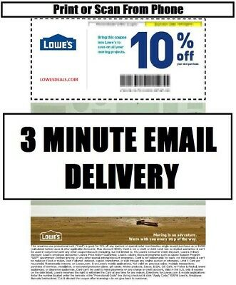 THREE (3x) LOWES 10% PROMOTION INSTORE ONLINE 11/30/17 - FAST DELIVERY