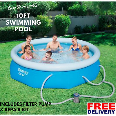 Inflatable Swimming Pool Bestway Fast Set 10Ft Filter Pump Family Pool Set