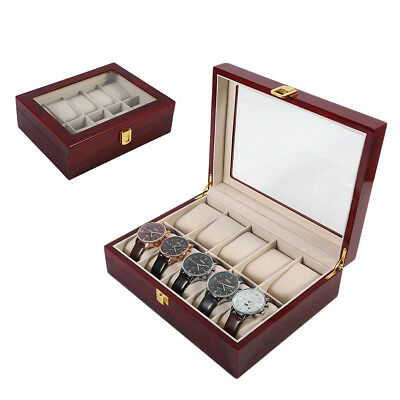 Practical 10 Grids Wooden Watch Box Jewelry Display Collection Storage Case VC